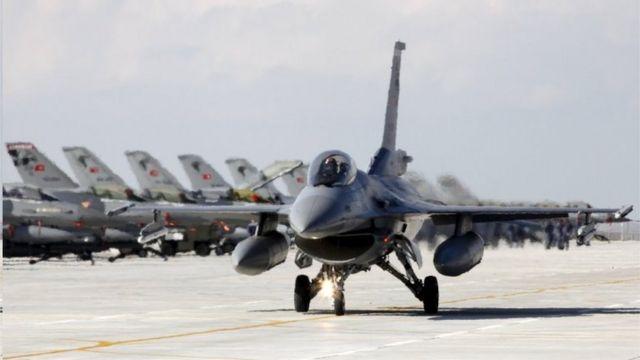 Sawir muujinaya diyaaradaha dagaalka Turkiga ee F-16