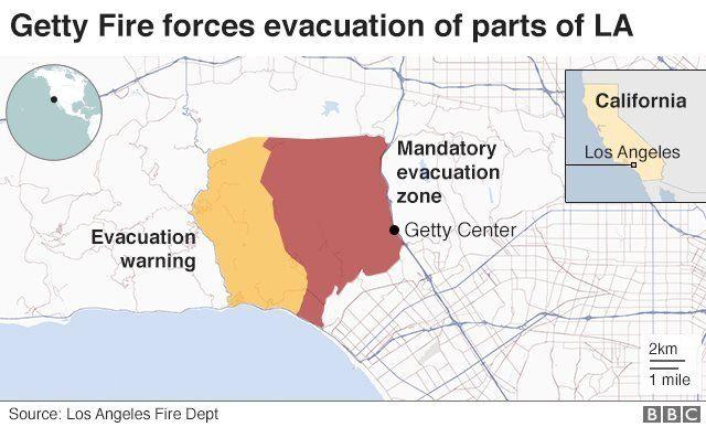 Getty Fire memaksa dilakukannya pengungsian di sejumlah daerah LA.
