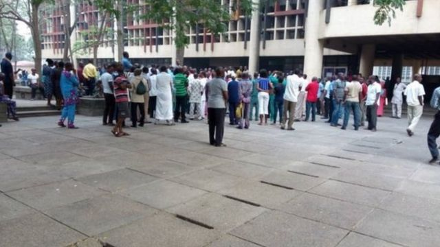 People gather for front of senate house for UNILAG