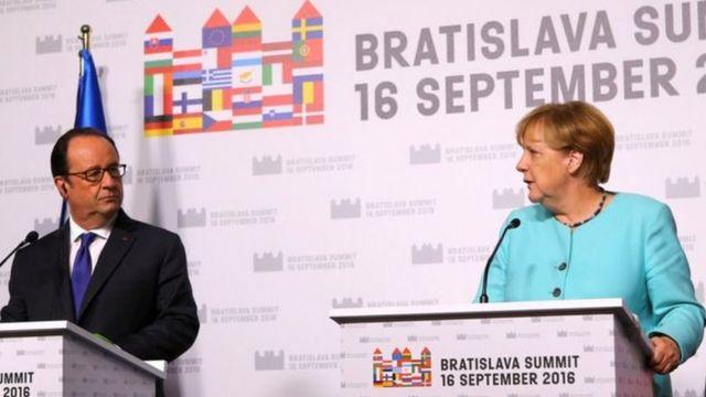 Francois Hollande na Angela Merkel