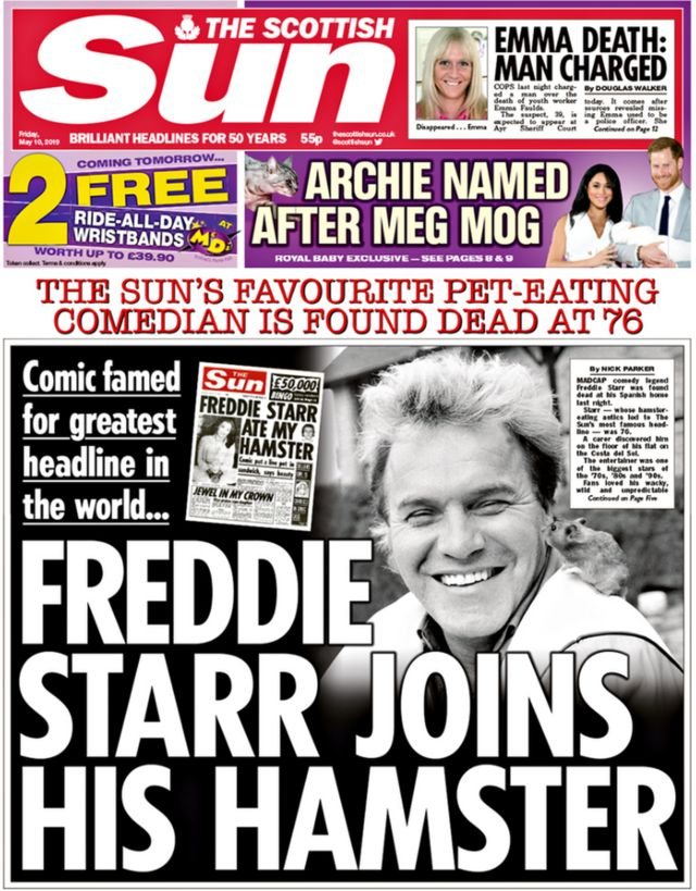 Scottish papers: Freddie Starr 'found dead' and NHS 'bullying'