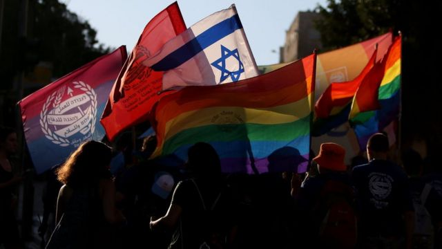 Participants attend the annual Jerusalem Gay Pride Parade on 3 August 2017