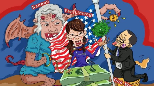 """Пример пропагандистской карикатуры, которую распространяли через фейковые аккаунты. Бывший советник Трампа Стив Бэннон изображен в виде демона, ему """"помогают"""" переехавшая в США китайский вирусолог Янь Лимэн и Го Вэньгуй - эмигрировавший в США бизнесмен из Китая."""