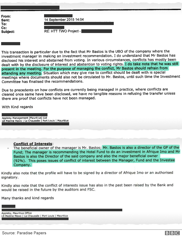 """Internal Appleby email reply: """"…I do take note that he was still present in the meeting. For the purpose of managing the conflict, Mr Bastos should refrain from attending any meeting…"""" Initial email: """"…Mr Bastos is also director of the GP of the Fund; The manager is recommending the Hotel Fund to do an investment in Afrique Imo and Mr Bastos is also the Director of the said company and also the major beneficial owner (92%) This poses issues of conflict of interest between the Magager, Fund and Investee Company."""""""