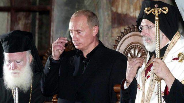Vladimir Putin em sua visita a mosteiro em Monte Athos, em setembro de 2005