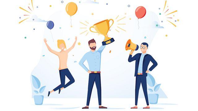 Dibujo de un hombre levantando una copa con dos personas festejando