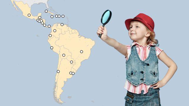 Mapa y niña con lupa.
