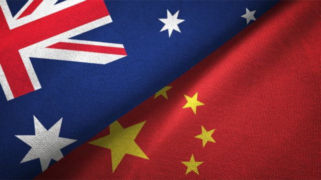 Australia and China's flags