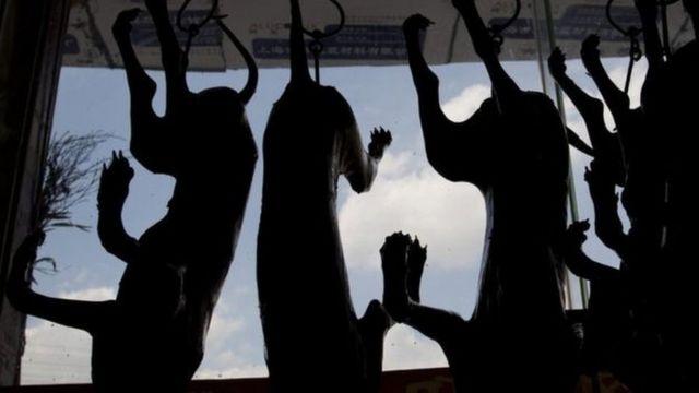 Cães mortos à venda em festival