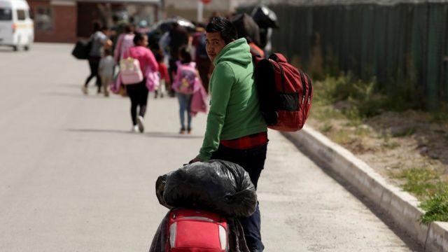Migrante centroamericano en México, cerca de la frontera con EE.UU.
