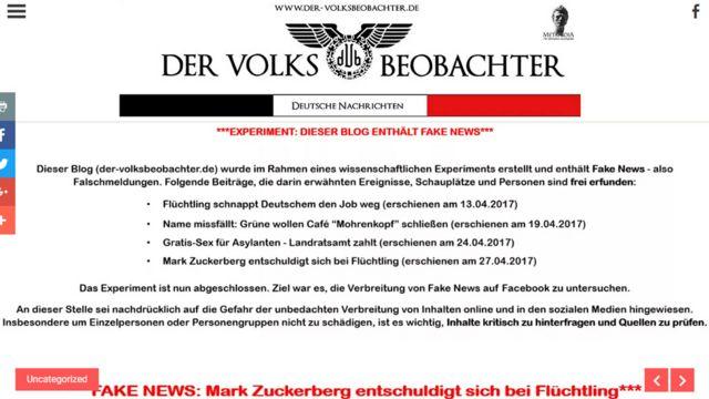 Сейчас на сайте, который создали немецкие исследователи, размещен красный баннер, предупреждающий о недостоверности новостей