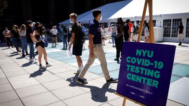 Тестирование на Covid-19 в Нью-йоркском университете
