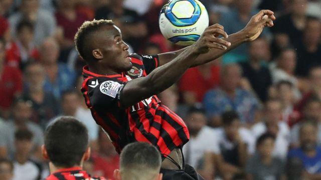 L'attaquant Ignatius Ganago de l'OGC Nice lors d'un match contre Marseille le 28 août 2019.