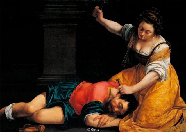 Karya Gentileschi, Jael and Sisera, 1620, memperlihatkan kekerasan grafis terhadap pria.