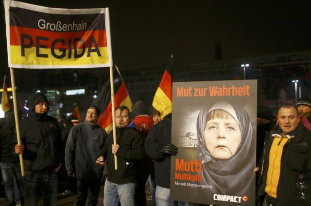 Uma manifestação do movimento Pegida em Leipzig, em janeiro de 2015