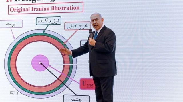 بنیامین نتانیاهو در حال ارائه اسناد هستهای سرقت شده از ایران