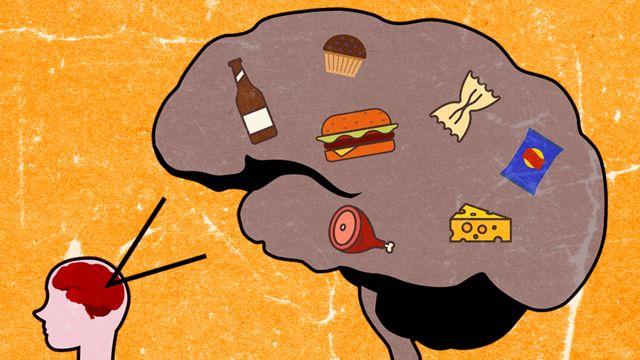Ilustração de um cérebro humano com itens de alimentos processados