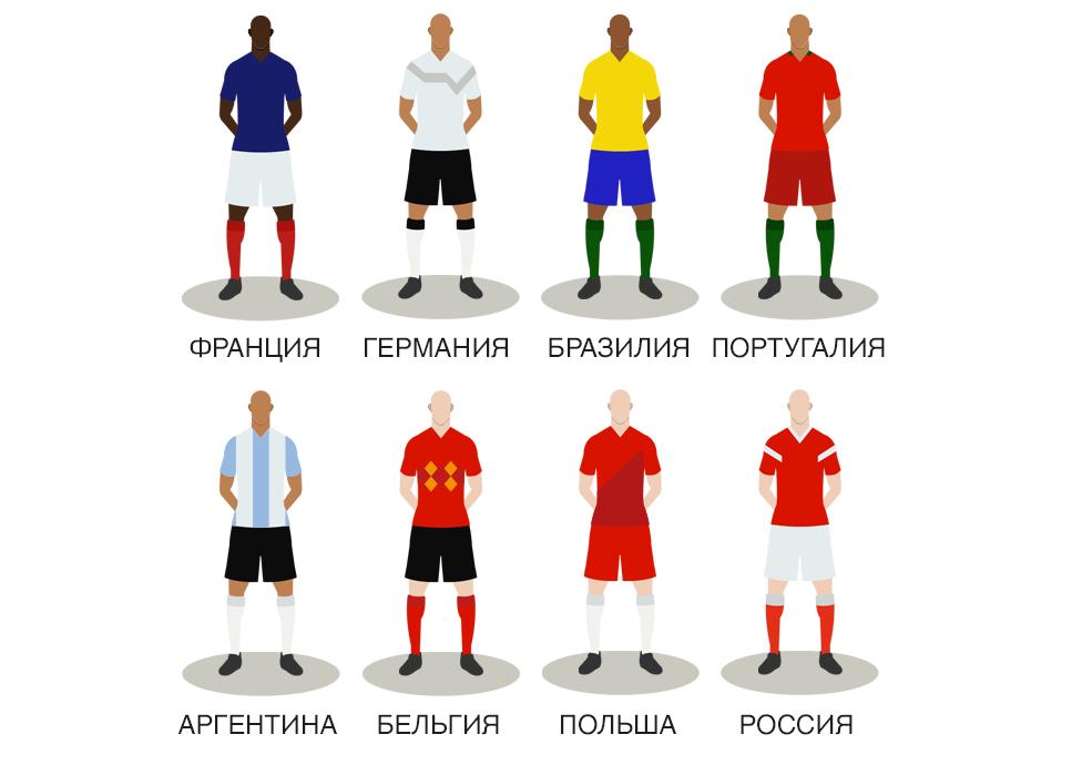 Восемь претендентов: Франция, Германия, Бразилия, Португалия, Аргентина, Бельгия, Польша, Россия