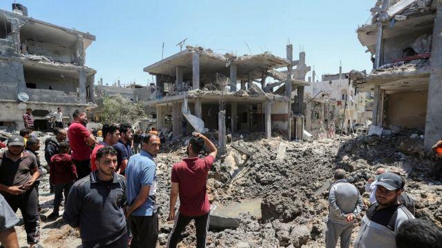 Edificios bombardeados en Gaza.