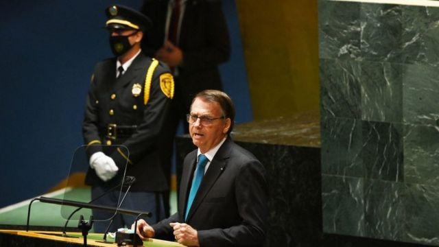 Jair Bolsonaro durante seu discurso na Assembleia-Geral da ONU