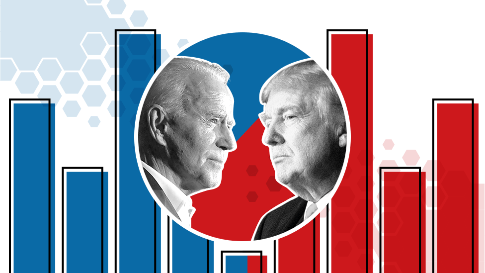 Biden and Trump with a graphics background