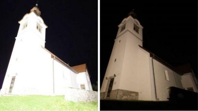 Önce ve sonra: Slovenya'daki bu kilisenin yeniden aydınlatılması, yüzde 96 tasarrufa sebep oldu.