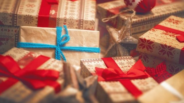 A pile of Christmas gift boxes
