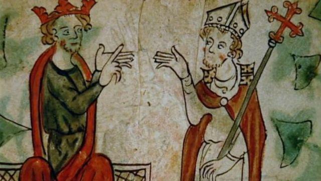 Бекет и Генрих, иллюстрация в средневековом манускрипте