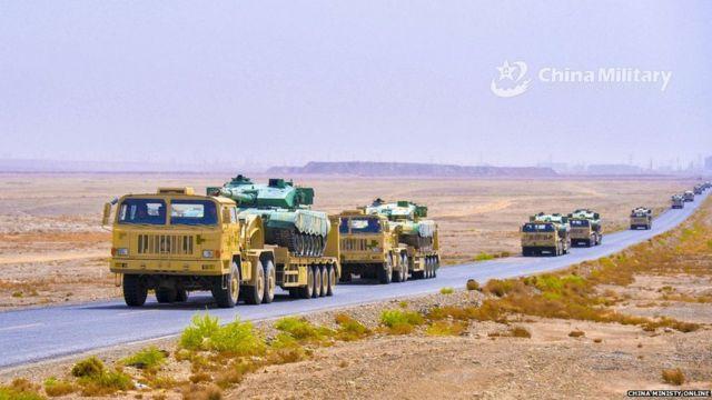 中国在最近的一次军事演习中展示了其后勤保障能力。