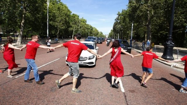 Protesters block Boris Johnson's car