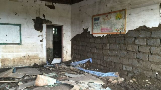 住宅だけでなく学校なども被害を受けた(今月7日、北朝鮮・咸鏡北道で)
