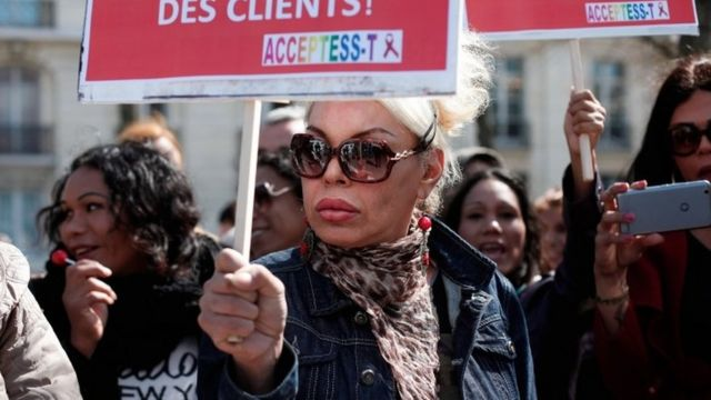 French sex workers protest against a new bill outlawing payment for sex