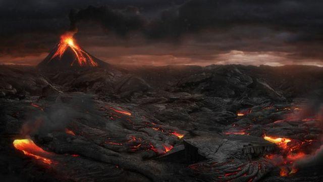 A volcanic eruption (artistic design)