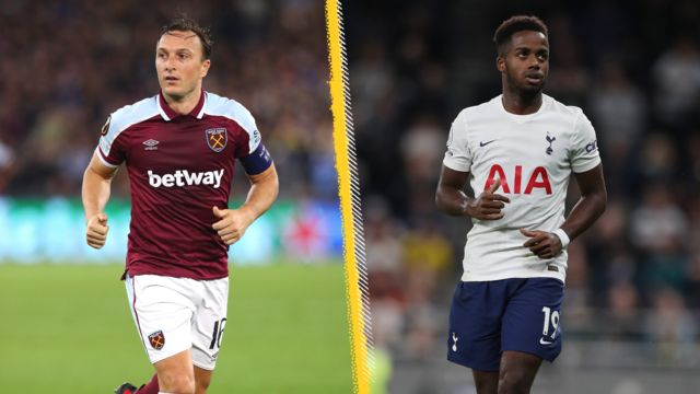 West Ham's Mark Noble and Spurs' Ryan Sessegnon - split picture graphic