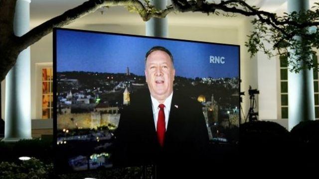 美國國務卿蓬佩奧通過錄像參加共和黨全國大會