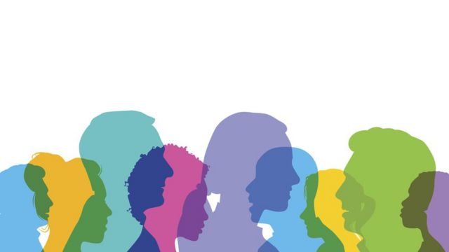 Ilustração mostra sombreados de pessoas em diversas cores