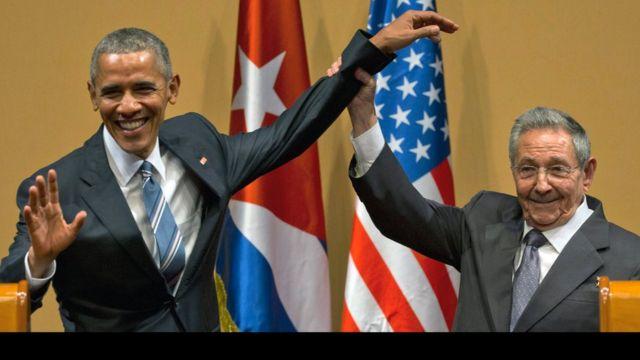 Barack Obama y Raúl Castro