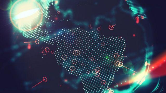 Mapa mostra o globo, com foco no Brasil
