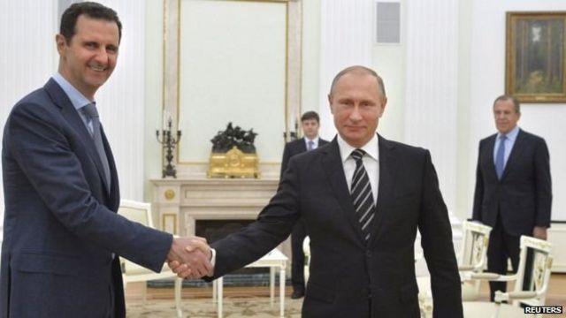 रशियाचे अध्यक्ष व्लादिमिर पुतिन आणि सीरियाचे अध्यक्ष बशर-अल-असाद