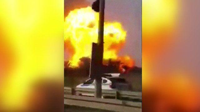 Fireball at scene of gas plant attack