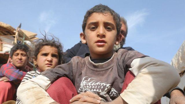 اطفال نزحوا من الموصل