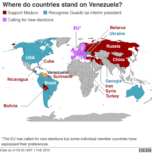 Map shows where countries stand on Venezuela presidency