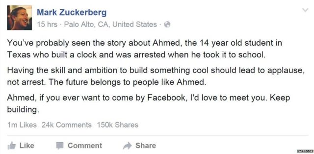 Mark Zuckerberg's Facebook post about Ahmed