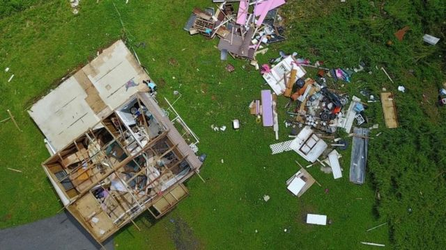 A house damaged by Hurricane Maria in Barranquitas, south-west of San Juan, Puerto Rico (file photo)