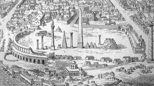 مشرقی سلطنت روم کا دارالحکومت استنبول اور ہپوڈروم کا منظر