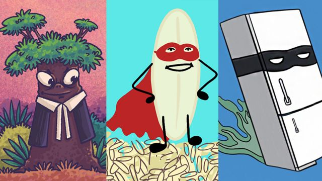 Bir avukat gibi giyinmiş bir ağaç, bir süper kahraman gibi giyinmiş bir pirinç tanesi ve kaçan bir kötü adam gibi giyinmiş bir buzdolabı içeren kolaj