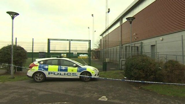 Police car at scene of football pitch electrocution