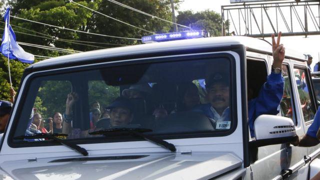 Daniel Ortega e a mulher e vice-presidente, Rosario Murillo