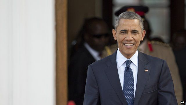 US President Obama arriving for a news conference during his Kenyan visit