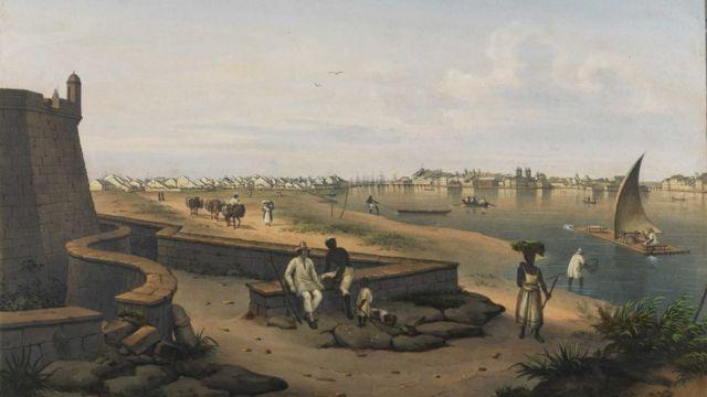 A cidade de Recife vista do Forte do Brum, em gravura do século 19